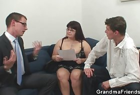 Gay porn videos tube for a super-busty mature threesome action